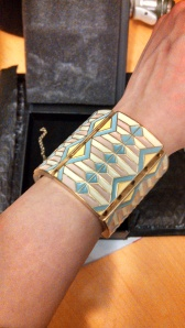 I got a Basket Weave Bangle. It's got a nice, solid feel. Not necessarily something I would choose for myself but it is bold and versatile.